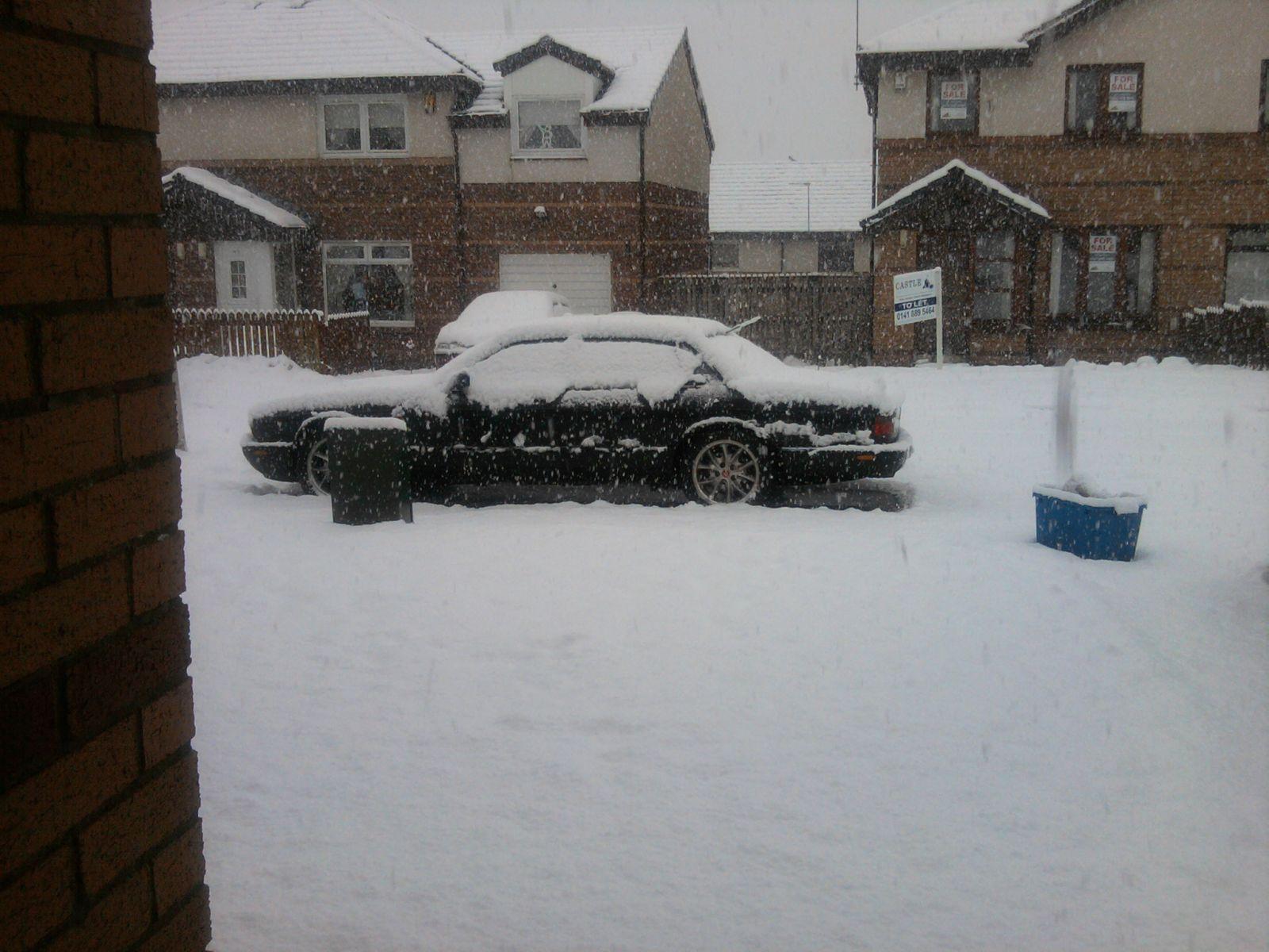 Jaguar XJR in the snow